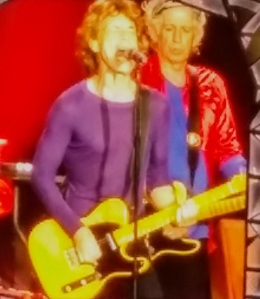 Jagger, Richards, from the video board, 6/19/15.