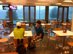 Waiting out the rain at Tulane, about 2012.