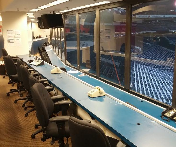 I don't know how many times in my career I've been the last one out of the press box. It's been a lot. I turned around after a Rockies-Braves game to take this.