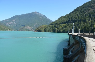 This is a shot from on top of the Diablo Lake Dam in North Cascades. It was surprisingly uncrowded (or, considering it was 85, maybe not so surprising). My first step on a dam. Amazing, those things.