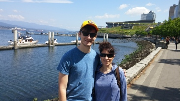 From Seattle, we drove north, via I-5 and Chuckanut Drive, to Vancouver, BC. Here's the boy and the wife on the Vancouver waterfront. Beautiful.