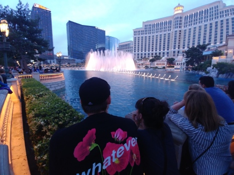 We flew into Las Vegas, the first time in Sin City for any of us. Here, Luke and Mary Jo get friendly with some stranger's armpit while watching the Fountains of Bellagio.