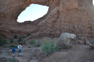 In the shadow of an arch at Arches.